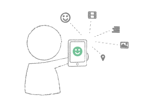 Illustration of a participant reporting a touchpoint using a mobile phone.